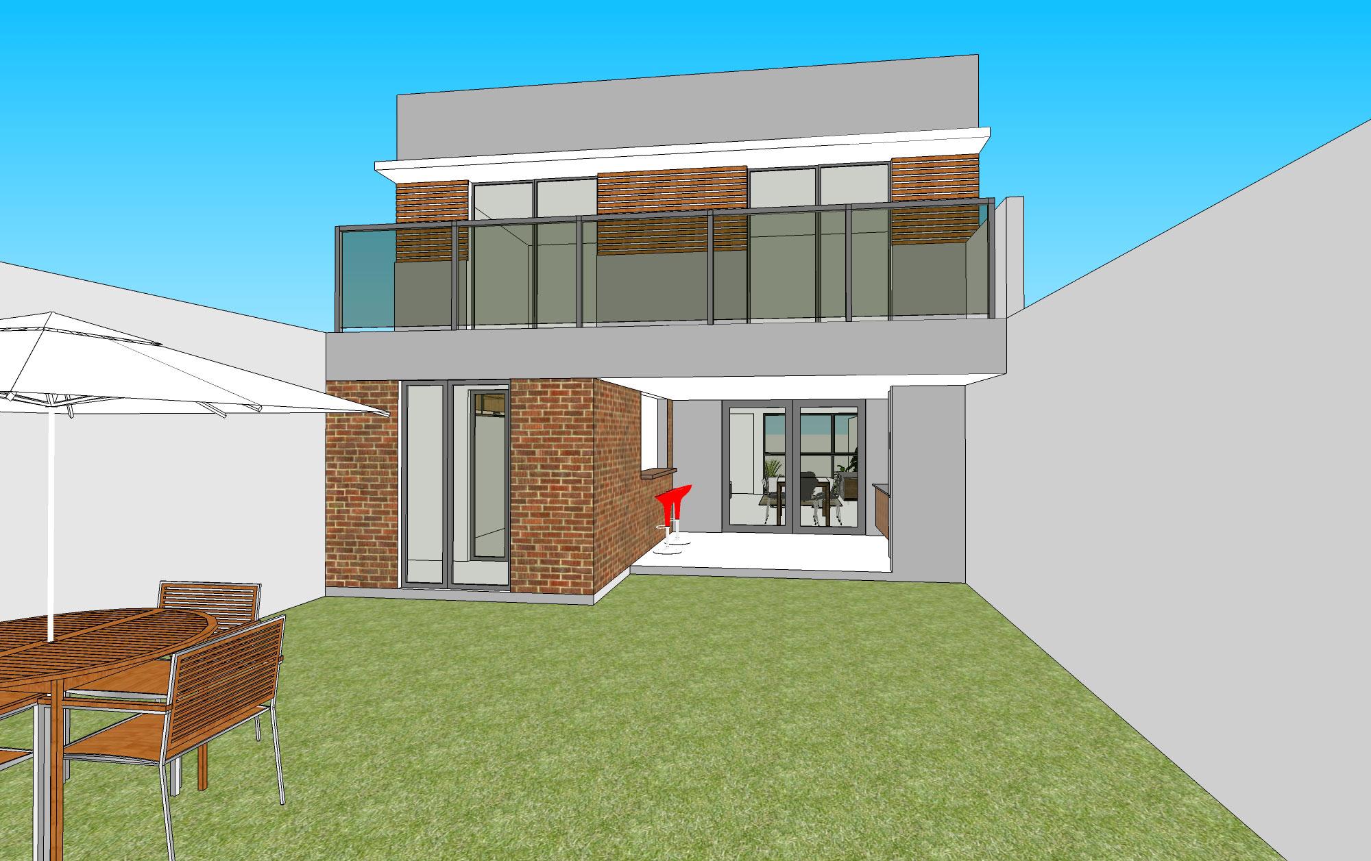 #0096CB Casa em Lote Estreito casaeprojeto 2000x1257 px Projetos De Casas Com Cozinha Nos Fundos #187 imagens